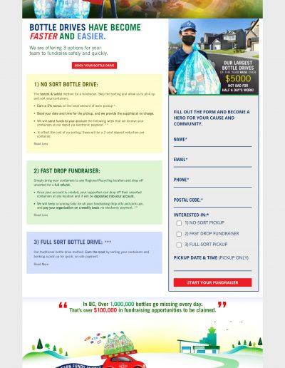 Regional Recycling Bottle Drive Landing Page Design