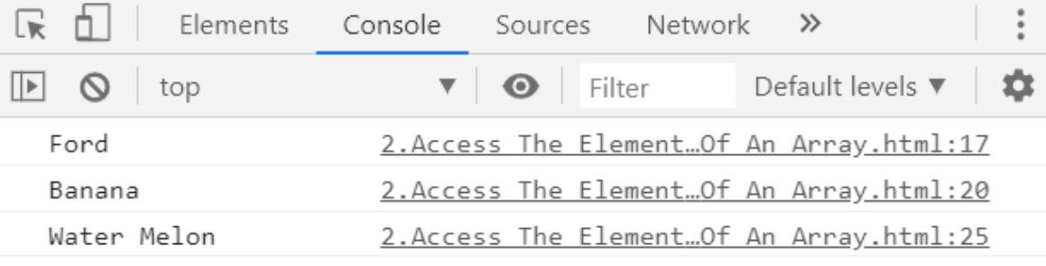 Accessing Elements Inside Javascript Array
